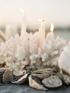 coral + oyster centerpiece. summer centerpieces, candle holders, newport beach, beach weddings, themed weddings, candle centerpieces, party centerpieces, beach themes, oyster shells