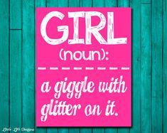 Girl Wall Art - Girl Room Decor - GIRL: a giggle with glitter on it. Wall Art and Home Decor