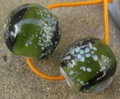 Deep green with white speckles, lampwork earring beads SRA lampwork *kitzbitz*