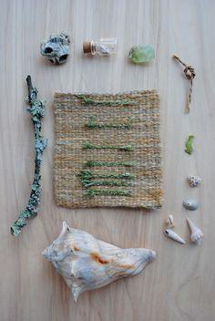 "Mermaid Treasure by Rachel Freeman, via Behance. Hand-woven Tapestries and Found Objects, each 11"" x 17""."