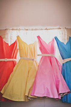 Colorful bridesmaids' dresses