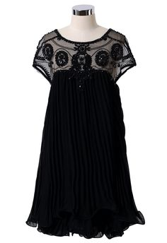 Beads Embellished Pleated Dolly Dress//