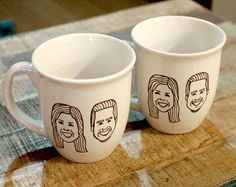 These cups feature hand painted caricatures, custom to you. When you send me pictures of your husband, wife, boyfriend, girlfriend, mom, or dad, Ill