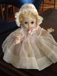 Vintage Madame Alexander Little Genius Doll in Tagged Party Dress with Bonnet | eBay