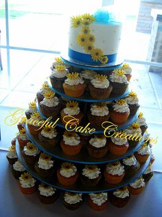 Elegant Cupcake Wedding with Yellow Daisies and Malibu Blue Ribbon