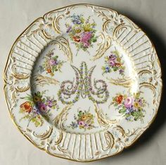 "The ""Marie Antoinette"" china pattern with gold trim & floral accents from Andre-Marie Leboeuf. This pattern was discontinued in 1780."