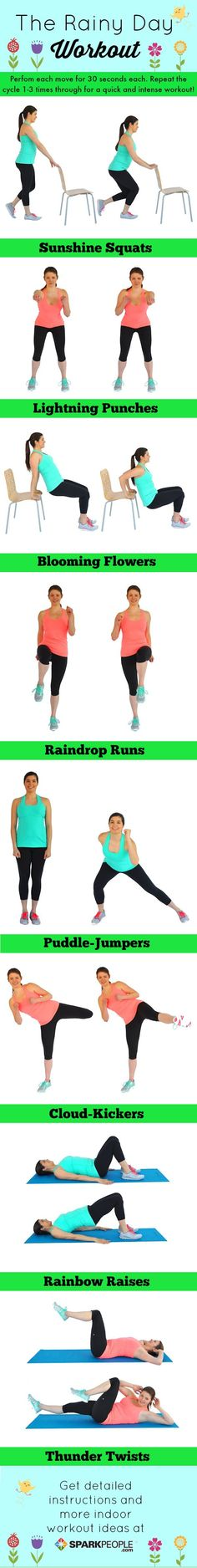 Don't let spring showers keep you from your exercise routine! This equipment-free workout features cardio and strength in heart-pumping combos that you can do at home! | via @SparkPeople #fitness #motivation