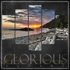 Glorious Sunset ~ Great landscape layout idea - enlarge the photo and crop into strips!