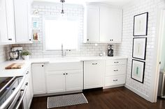 white kitchen - look at all that subway tile!