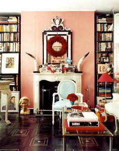 pink/black living room
