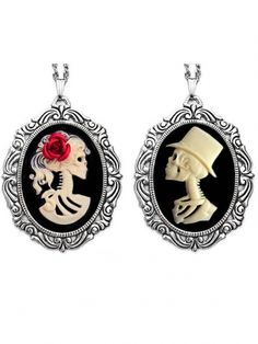 """Bride and Groom"" Cameo Necklace SET by Couture by Lolita (Black) #InkedShop #bride #groom #cameo #necklace #style #fashion #skeletons"