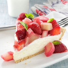 Rhubarb Berry Cheesecake Pie ~~ The combination of flavors and textures simply can't be beat. This cheesecake truly tastes like springtime!