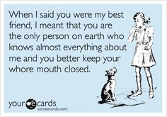 @Jamie Wise Schubert  Funny Friendship Ecard: When I said you were my best friend, I meant that you are the only person on earth who knows almost everything about me and you better keep your whore mouth closed.