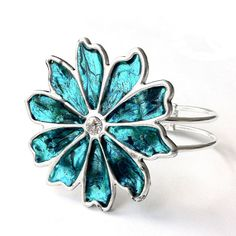 Teal Bracelet Hinged Bangle Teal Jewelry by LoralynDesigns on Etsy, $34.99