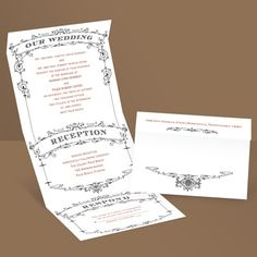 Wedding Playbill - Ebony - Seal and Send Invitation