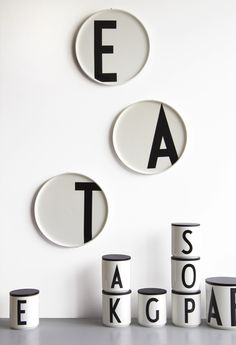 Design letters new porcelain plates. Looks great!  Typography: Arne Jacobsen