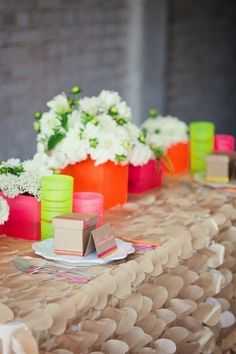 Neon Wedding Inspiration: Bright pink, orange and green table setting.