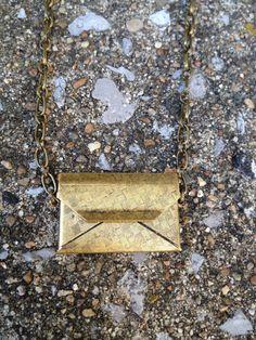 Secret Message Necklace - Golden Envelope. $22.00, via Etsy.  So cute!!