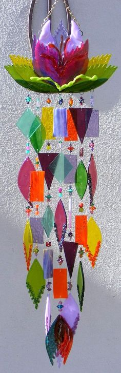 Kirks Glass Art Fused Stained Glass Wind Chime