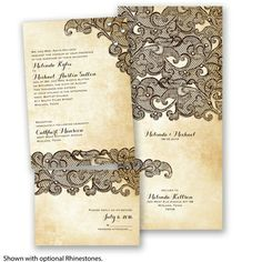 Want a stylish invitation that won't break your budget? This lace-look invitation will fit the bill! Item Number DB33149 #davidsbridal #invitations #vintagewedding