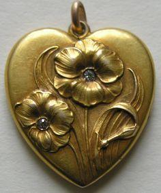 heart of gold, diamonds, 10k gold, antique heart locket, diamond flower, gold heart, vintage art, art nouveau, nouveau diamond