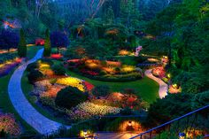 Butchart Gardens in Victoria, British Columbia. There are 55 acres of cultivated gardens, including a sunken garden, a rose garden, an Italian garden, and a Japanese Garden.