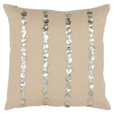 Luisa Pillow (Set of 2) Linen and cotton pillow with mother of pearl-style accents