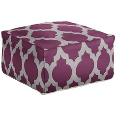 Wool pouf in raspberry wine with a Moroccan quatrefoil motif. Made in India.  Product: PoufConstruction Material: