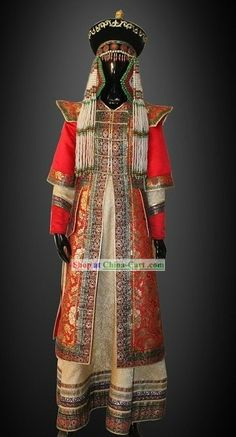 Traditional Chinese Mongolian Princess Clothing and Hat