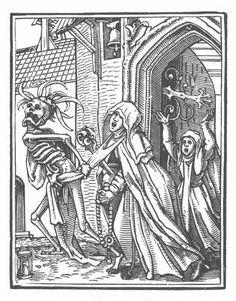 a few illustrations by Hans Holbein the Younger from the Dance of Death: - See more at: http://www.atlasobscura.com/articles/31-days-of-halloween-dance-of-death#sthash.2Io1Zhl9.dpuf