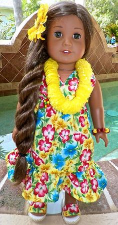 Kanani's Traditional Floral Hawaiian Dress Clothes Fits American Girl Doll | eBay