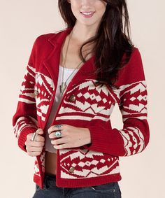 Red Sweater Jacket- cute for christmas