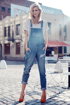 dungare, jean, 2014 spring, fashion styles, heel, outfit, street styles, ear cuffs, denim overalls