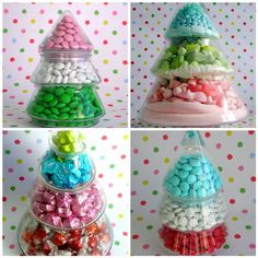 Christmas Candy Jar Topiary Trees