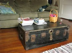 An old trunk as a coffee table.