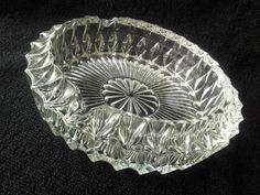 vintag crystal, crystal cut, crystal ashtray