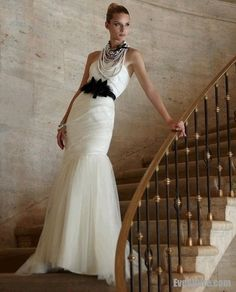 Dramatic Wedding Dress with Black Belt