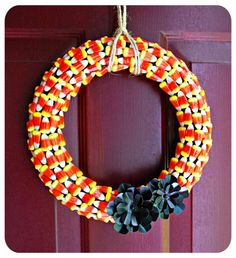 how to make wreaths with candy | 45. Candy Corn Wreath ~ How to make a candy wreath out of candy corn ...