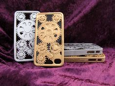 Although steam power isn't what drives 3D printing, we were inspired by the gears and gadgetry of steampunk to hack these iPhone cases designed by Danny Tasmakis.  Created on anObjet Connex multi-material 3D printer – and dolled up in bronze and silver — the interlocking gears work perfectly. See the complete design and 3D printing process in this blog post: 3D Printing Some Unique iPhone Covers!