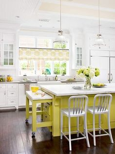 Colorful Kitchen Ideas With White Yellow Kitchen Wall Sink Oven Stove Cabinet Table Bar Stool Chandelier Window Curtain Storage And Hardwood Floor