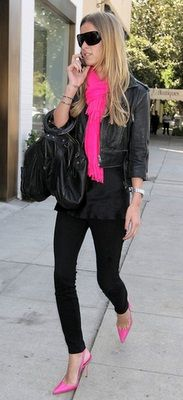 black with hot pink scarf and shoes