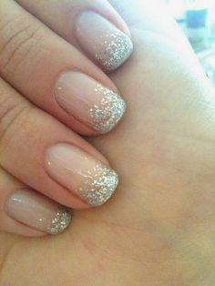 Maybe a french nail with glitter tips if we want a little bit of sprakle