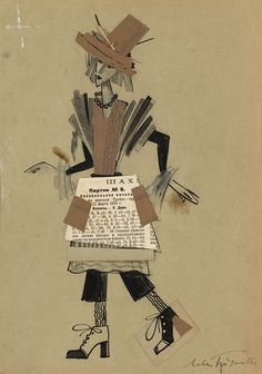 1492048_original.jpg (702×1000) Лев Бруни Costume Design of a Chess Queen, signed and dated 1915. \\nPencil, black ink, watercolour and collage with newspaper on paper