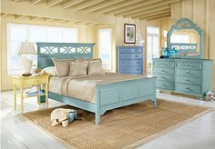 Cindy Crawford Home Seaside Green Panel 5 Pc Queen Bedroom at Rooms To Go.