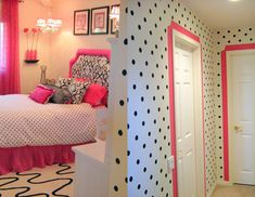Cute pink, black and white bedroom.