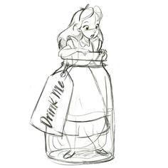 alice in bottle | Drink Me Alice in Wonderland Ornament - Product Image #2 - Sketch ...