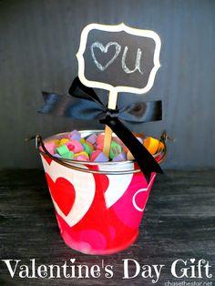 Valentines Gift via Chase the Star for Saved By Love Creations #conversationHeart #candyHeart #valentine #modPodge #decoupage #chalkboard #diycraft #craft #gift #repurpose #bucket valentin gift, gift ideas, diy valentine's day, bucket idea, centerpiec idea, craft gifts, valentine gifts, valentine day gifts, diy bucket