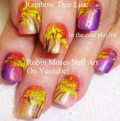 Fall Nail Art Design - Rainbow Tree Tutorial