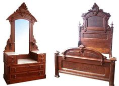 """Fabulous 2 piece Walnut Victorian bedset attr: to Thomas Brooks. This set includes one highback bed 92""""H x 62""""W x 74""""L and a marble top dresser with beveled mirror. 92.5""""H x 47""""W x 21""""D."""