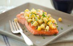 dinner, fish recip, bake salmon, seafood, warm mango, yum, eat, mango salsa, food market